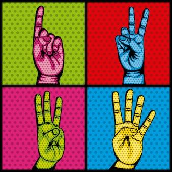 Símbolo de coleção humana conjunto de mãos