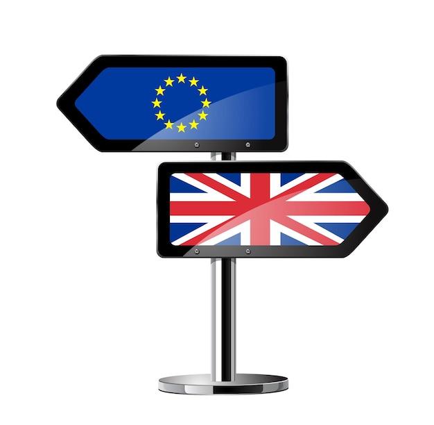 Símbolo de conceitos do referendo britânico brexit em cartaz