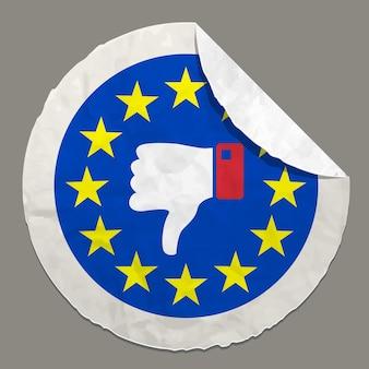 Símbolo de conceitos do referendo britânico do brexit em etiqueta de papel