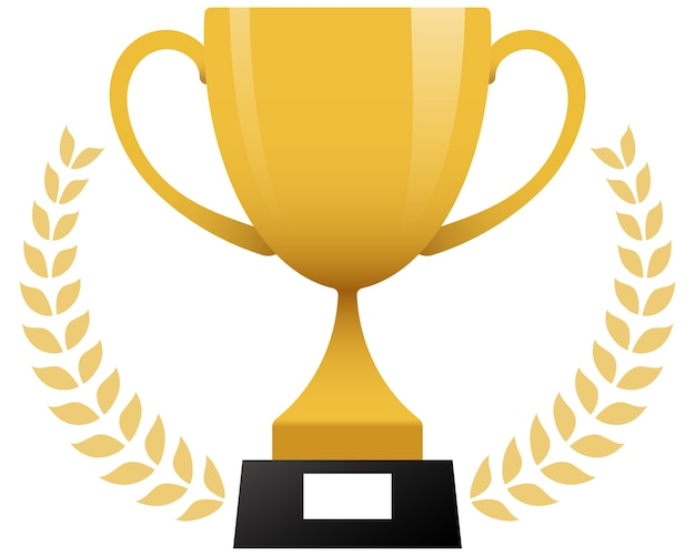 Símbolo de coroa de louros metálico premiado com troféu