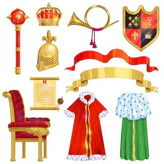 Símbolo de coroa real de realeza dourada do rei rainha e princesa ilustração sinal de coroar o conjunto de autoridade do príncipe da coroa jeweles e trono isolado no fundo branco