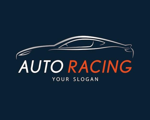 Símbolo de corrida de automóveis em fundo azul escuro