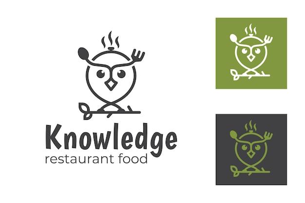 Símbolo de coruja animal de arte de linha com utensílios de comida garfo e colher para logotipo de escola de culinária e ingredientes alimentares de conhecimento