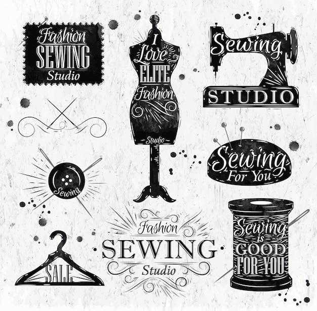 Símbolo de costura no manequim de rotulação vintage retrô, bobina, pinos, cabides, botões