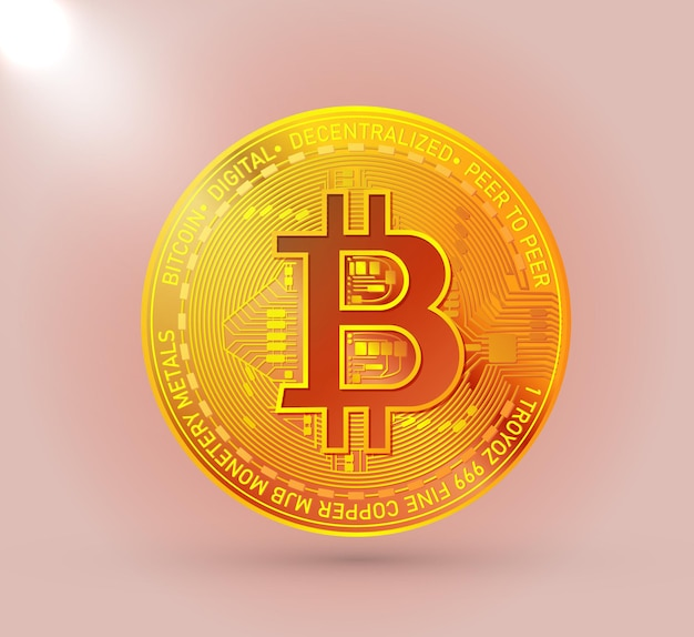 Símbolo de criptomoeda bitcoin ouro isolado
