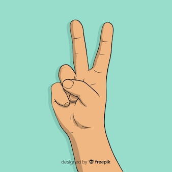Símbolo de dedos de paz linda mão desenhada