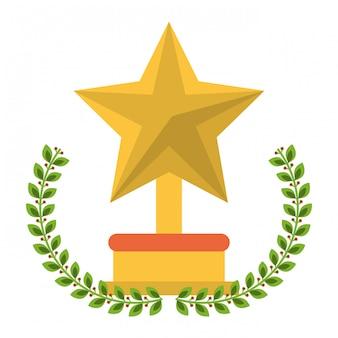 Símbolo de desenho animado de troféu de estrela
