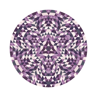 Símbolo de design caleidoscópico de mandala do triângulo geométrico redondo - ilustração digital do padrão de vetor simétrico