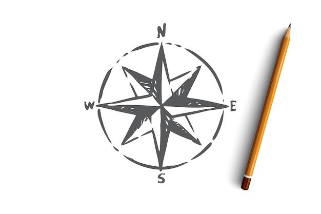 Símbolo de direção da bússola de navegação windrose de navegação