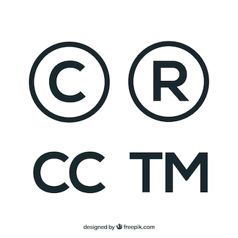 Símbolo de direitos autorais em estilo plano