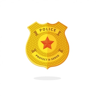 Símbolo de distintivo de metal de polícia isolado
