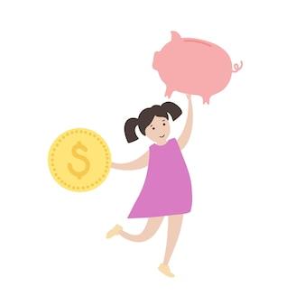 Símbolo de educação infantil finanças. investimento, planejamento de orçamento, banco e símbolo de moeda.