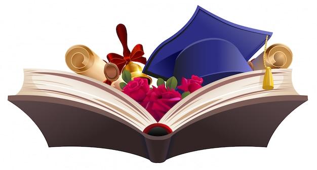 Símbolo de educação. livro, diploma, sino, flores e capelo
