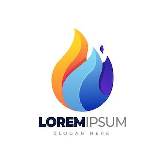 Símbolo de elemento de logotipo de água de fogo do modelo de logotipo gradiente de fogo e água