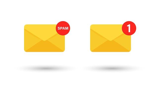 Símbolo de envelope de correio ou notificação sms com ícone de spam e mensagem de e-mail