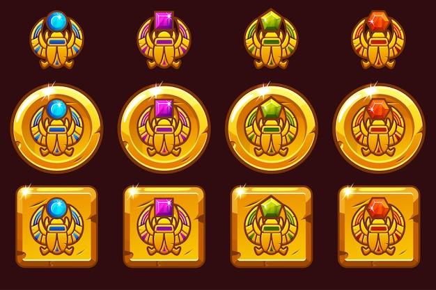 Símbolo de escaravelho egípcio do faraó com gemas preciosas coloridas. ícones dourados egípcios em versões diferentes