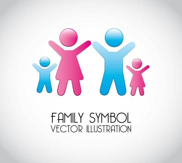 Símbolo de família sobre ilustração vetorial de fundo cinza