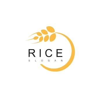 Símbolo de fazenda e pão do logotipo do arroz