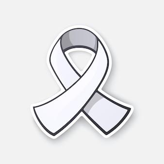 Símbolo de fita branca de conscientização sobre câncer de pulmão e violência masculina contra mulheres