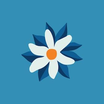 Símbolo de flor branca tropical nas mídias sociais postar ilustração vetorial floral