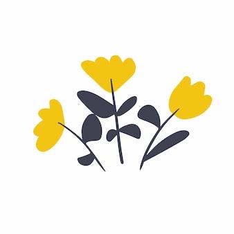 Símbolo de flores amarelas mídia social postar ilustração vetorial floral