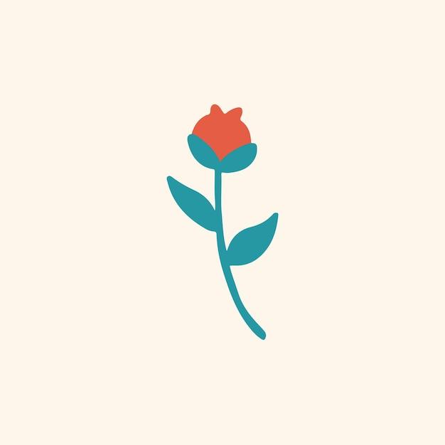 Símbolo de flores vermelhas tropicais mídia social postar ilustração vetorial floral