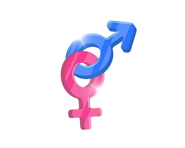 Símbolo de gênero heterossexual combinado ícones de marte e vênus. sinal do conceito de vetor de igualdade masculina e feminina. ilustração de pictograma de sexo isolado