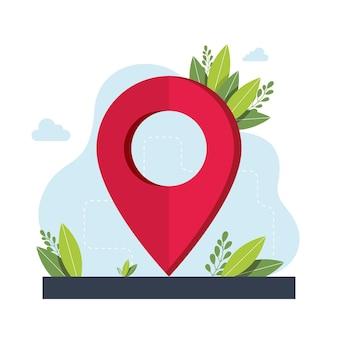 Símbolo de geolocalização. aplicativo de serviço de navegação gps. mapas, obter metáforas de direções. ilustrações isoladas de metáfora do conceito de vetor. obtenha o conceito abstrato de direções. ilustração vetorial