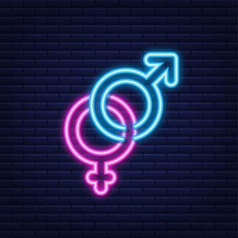 Símbolo de homens e mulheres. ícone de gênero. estilo neon. ilustração em vetor das ações.