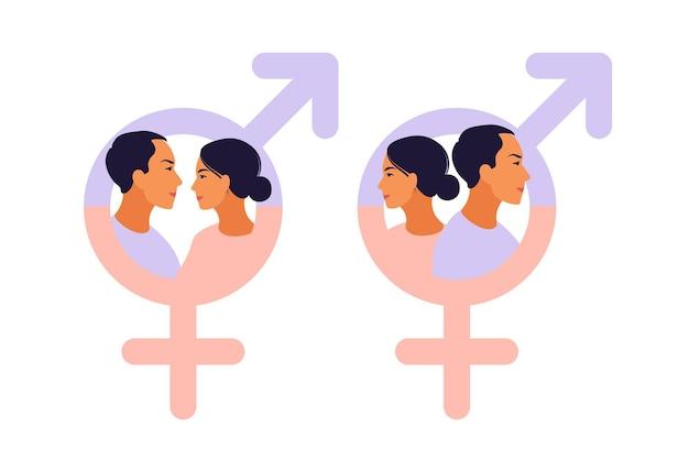 Símbolo de homens e mulheres. símbolo de igualdade de gênero. mulheres e homens devem sempre ter oportunidades iguais. ilustração vetorial. apartamento.