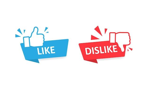Símbolo de ícones de gosto e não gosto definido com o polegar para cima e para baixo. vetor eps 10
