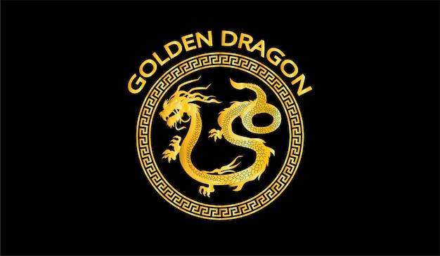 Símbolo de ilustração de dragão dourado