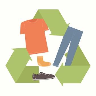Símbolo de ilustração de reciclagem de sapatos e roupas
