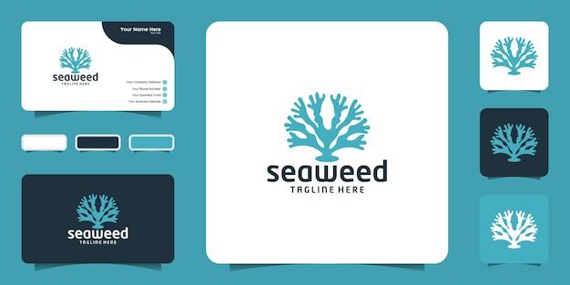 Símbolo de inspiração de design de logotipo de planta de algas e design de cartão de visita