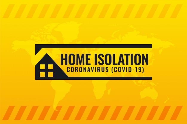Símbolo de isolamento doméstico de coronavírus covid-19 em fundo amarelo
