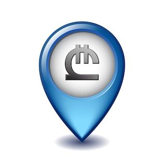 Símbolo de lari georgiano no ícone do marcador de mapeamento. ilustração do sinal de moeda da geórgia no ponteiro do mapa. símbolo da unidade monetária da geórgia. ilustração em fundo branco