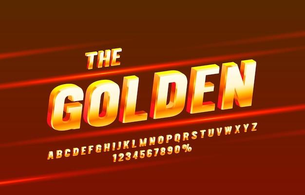 Símbolo de letras e números de coleção de fontes douradas