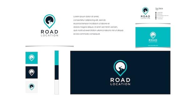 Símbolo de localização de sinalização com estilo de arte de linha, logotipo e design de cartão de visita