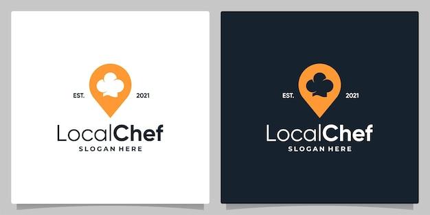 Símbolo de localização do pino do mapa com chapéu de chef e design de cartão de visita.