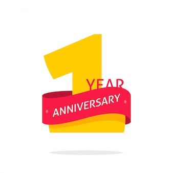 Símbolo de logotipo de aniversário de 1 ano isolado