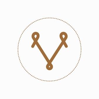 Símbolo de logotipo de vetor de escudo voador criativo. logotipo feito à mão da letra v de tricô de luxo.
