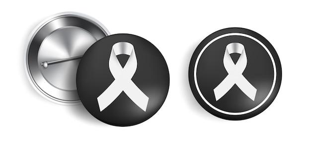 Símbolo de luto com fita black respect no alfinete. descanse em paz.