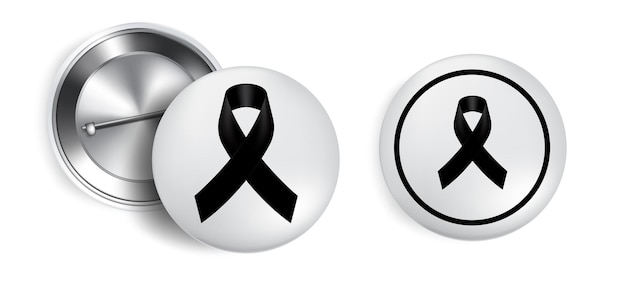 Símbolo de luto com fita black respect no distintivo