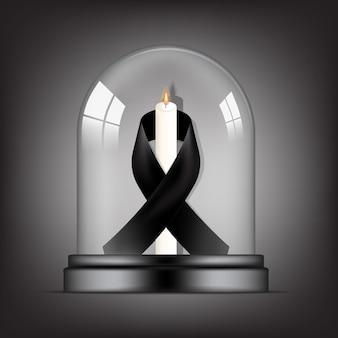 Símbolo de luto com fita rip preto respeito e vela em fundo transparente cúpula de vidro banner. descanse em paz cartão funeral ilustração.