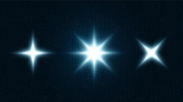 Símbolo de luz digital da estrela em tecnologia de fundo