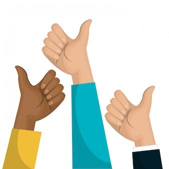 Símbolo de mão como design de equipe multicultural