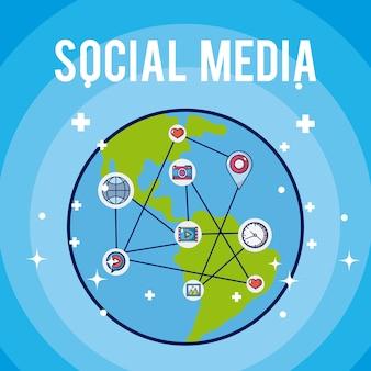 Símbolo de mídia social ao redor de desenhos de terra