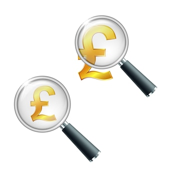 Símbolo de moeda da libra de ouro brilhante com lupa. pesquise ou verifique a estabilidade financeira. ilustração vetorial isolada em fundo branco
