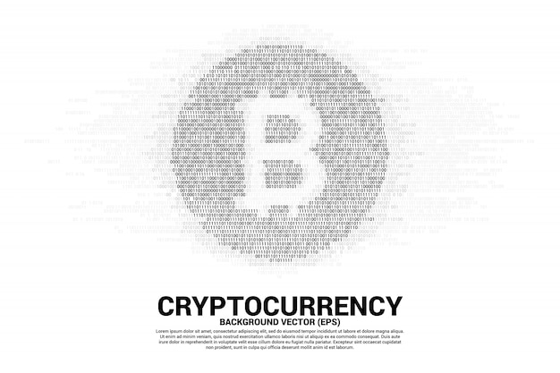 Símbolo de moeda de bit de vetor com um e zero matriz de dígito de código binário