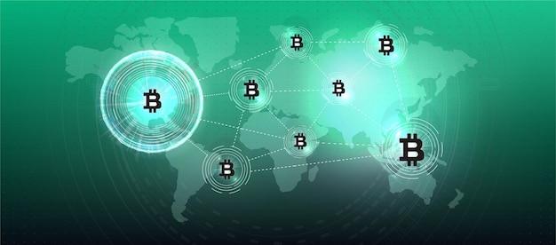 Símbolo de moeda de criptomoeda bitcoin. moeda criptográfica, eletrônico virtual, dinheiro da internet. símbolo de pagamento. informações básicas conceituais de bitcoin com luzes elétricas brilhantes azuis no estilo hud.